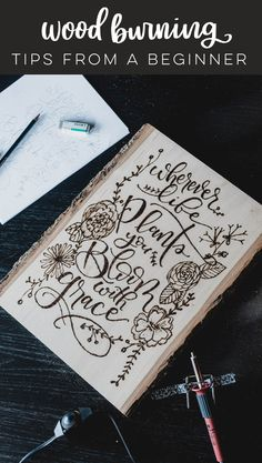 Tips for wood burning your script lettering! This is my second wood burning project with script lettering so these are beginner wood burning tips. Wood Burning Tips, Wood Burning Techniques, Wood Burning Crafts, Wood Burning Patterns, Wood Crafts, Wooden Signs With Sayings, Diy Wood Signs, Wood Projects For Beginners, Pyrography