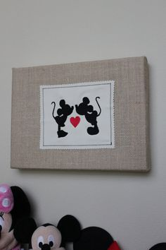 Personalized Kissing Mickey & Minnie Mouse Stretched Burlap Wall Decor - Disney Wedding, Anniversary, Engagement, Shower