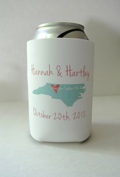 """Fun loving city and state wedding favor can coolers - precious! These would be great for a """"destination wedding,"""" an informal rehearsal dinner, engagement party or couples shower!"""