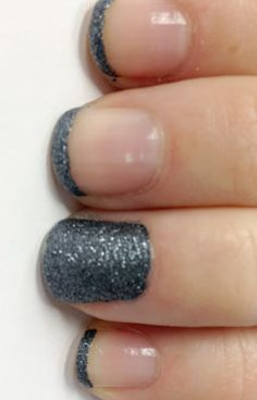 French glitter mani on short nails for a modern look
