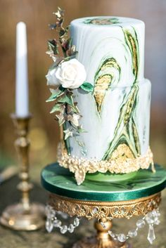 Green Marbled Tiered Wedding Cake on Opulent Treasures Gold Chandelier Cake Stand See more here: http://www.opulenttreasures.com/shop/12-round-cake-stand-antique-gold