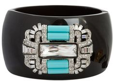 Kenneth Jay LaneBlack and Turquoise Deco Cuff