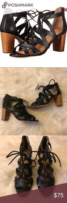 Corso como 'Gorgi' heeled sandals Corso Como 10th Anniversary lace up 'Gorgi' heeled sandals size 7 black with brown wood looking heel 2 3/4 inches heel cushioned footbed Corso Como Shoes Heels