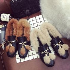 New Winter Women Hot Metal Decoration Fur Flat Ankle Boots Female Fashion Comfort Warm Plush Chuzzle Deluxe Shoes