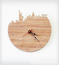 New York Modern Wall Clock By iluxo Jewelry and Design. Cherry bamboo wood wall clock with the Statue of Liberty, Empire State Building and more iconic pieces of the NYC skyline. Unusual Clocks, Cool Clocks, Glass Block Crafts, Glass Blocks, Yellow Wall Clocks, Yellow Kitchen Decor, Wall Clock Design, Clock Wall, Diy Clock