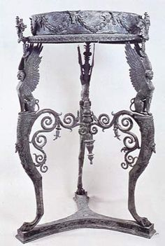 Bronze Roman Table or Stand with circular top from the Temple of Isis at Pompeii. Encyclopedia Britannica Online