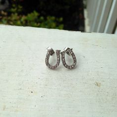 Silver horseshoe earrings with rhinestone accents