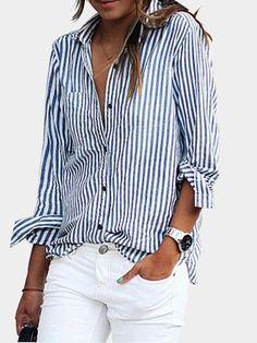 Blue Casual Striped Button-Down Shirt #buttondownshirt