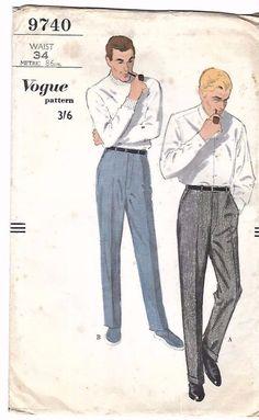"Vintage 1950's 1960's Sewing Pattern Men's Regulation Slacks Trousers Pants W34"" #Vogue"