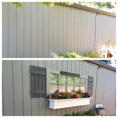 A boring wall before and after. Used a discarded inside door for fake window, shutters made from fence boards, window box and sign from Amazon. Planter to change with the seasons. Loving the look.