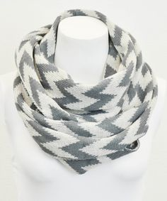 Look at this Leto Collection Gray & White Chevron Infinity Scarf on #zulily today!