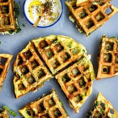 Greek Spinach, Feta and Potato Waffle Frittata with Tzatziki Sauce - a quick and super tasty lunch! Serve hot or cold.