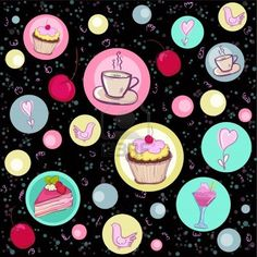 Holiday seamless pattern with sweets and coffee  Stock Photo - 13514070