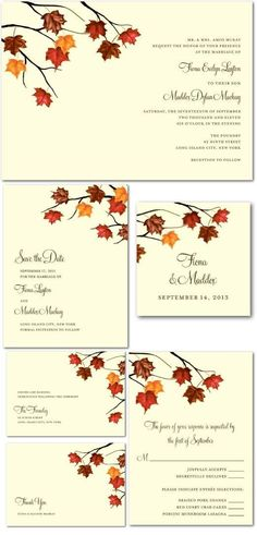 Fall Wedding Invites| Artistic Maple