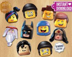 10 masks LEGO - Lego Costume Masks - Printable Party Favor - Lego Movie Superherores Decoration - Superman Batman Emmet Benny Wildstyle
