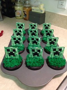 "My homemade minecraft creeper cupcakes! I feel like Dora, ""I did it! Minecraft Birthday Party, Birthday Parties, Minecraft Cupcakes, Pretzel Sticks, Black Balloons, Party Themes, Party Ideas, Cupcake Cakes, Cupcake Ideas"