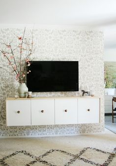 floating credenza in dining room