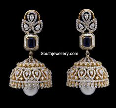 Diamond earrings latest jewelry designs - Page 7 of 53 - Indian Jewellery Designs Diamond Jumkas, Diamond Earing, Diamond Gemstone, Diamond Jewellery, Diamond Studs, Diamond Pendant, Gold Earrings Designs, Necklace Designs, Jhumka Designs