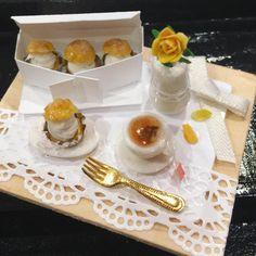 #ハンドメイド #食品サンプル #粘土 #small #handmade#hobby#doll #japan #フェイクフード #ミニチュアフード#シュークリーム#ティータイム#紅茶#miniature