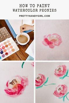 Watercolor Artwork, Watercolor Paper, Watercolor Flowers, Craft Tutorials, Diy Projects, Craft Ideas, Wood Bead Garland, Pin Art, Watercolour Tutorials
