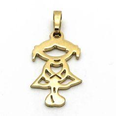 Joyas de Acero-Colgantes-PA0270. Diseño niña dorada de 25 mm de alto.