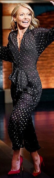 Who made Kelly Ripa's black and gold polka dot jumpsuit?