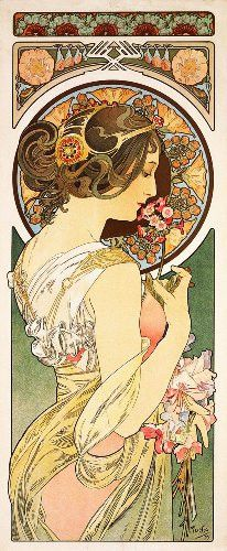 Primrose by Alphonse Mucha Counted Cross Stitch or Counted Needlepoint Pattern