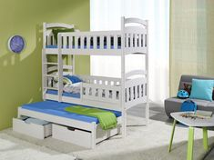 bunk beds ye perfect choice dominic 3 children triple bunk bed pine wood 22 colours 2 sizes 4 types of mattresses uk st Triple Sleeper Bunk Bed, Triple Bunk Beds, Bunk Bed With Trundle, Childrens Bunk Beds, Kids Bunk Beds, Wooden Bunk Beds, Convertible Bed, Bed Mattress, How To Make Bed