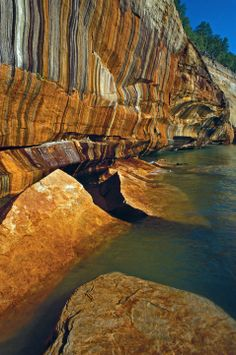Mineral Stained Cliffs - Pictured Rocks National Lakeshore, Michigan ID: 2905529 © Dean A Pennala