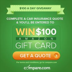 It's NOT an #AprilFoolsDay joke: you REALLY can win $100 for getting a #car‬ #‎insurance quote with us. We'll be giving away one #Amazon #gift card every day in #April‬. All you have to do to enter is complete a free quote. Click through the picture to get started!
