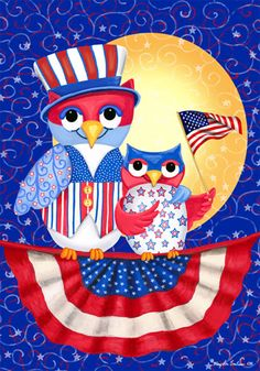 Custom Decor Flag - Patriotic Owls Decorative Flag at Garden House Flags at GardenHouseFlags