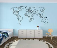 carte du monde wall decal world voyage wall par homefreestyle deco pinterest d co. Black Bedroom Furniture Sets. Home Design Ideas