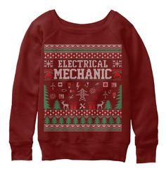 Electrical Mechanic Christmas Sweater Dark Red Triblend Sweatshirt Front