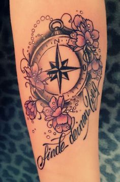compass tattoos flowers - Google Search