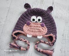 Crochet Baby Hats Repeat Crafter Me: Crochet Hippo Hat Pattern Crochet Hippo, Crochet Animal Hats, Bonnet Crochet, Crochet Kids Hats, Crochet Beanie, Crochet Crafts, Crochet Projects, Free Crochet, Knit Crochet