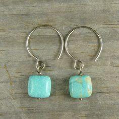 Stunning BlueGreen American Turquoise Earrings  Par by SilverRanch, $49.00