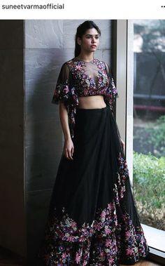 Indian Lehenga, Black Lehenga, Pakistani, Indian Designer Outfits, Designer Dresses, Indian Dresses, Indian Outfits, Desi Wedding Dresses, Lehnga Dress