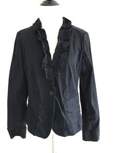 Talbots Size 6 Ruffle One button Vneck Jacket Cotton Blend Long Sleeve Black #Talbots #falljacket @savyshopp