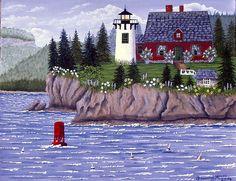 Bear Island Lighthouse - One of my Folk Art Paintings