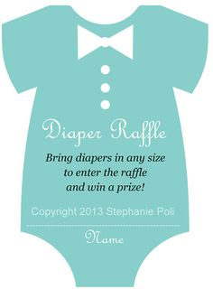 DIY Printable Diaper Raffle Tickets for boys Breakfast at Tiffany's baby shower game. Onesie by DarlinglovesDapper
