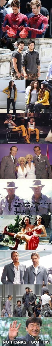 Celebs with their stunt doubles