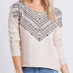 Billabong Aztec Sweatshirt in Sand/Black Perfect condition.  Color is sand (tan) with black printed Aztec design.  Raw edge hem and neck line. Could be worn on or off the shoulder. Billabong Tops Sweatshirts & Hoodies