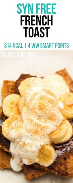 Syn Free French Toast Pinch Of Nom Slimming World Recipes 314 kcal Syn Free 7 Weight Watchers Smart Points Slimming World Desserts, Slimming World Breakfast, Slimming World Recipes Syn Free, Slimming World Puddings, Syn Free Breakfast, Breakfast Ideas, Breakfast Recipes, Smart Points, Pinch Of Nom