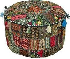 Bohemian Rajasthali Patchwork Pouf Ottoman Traditional Indian foot Sto – eRummagers
