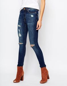 Image 1 of Mango Distressed Busted Knee Skinny Jeans