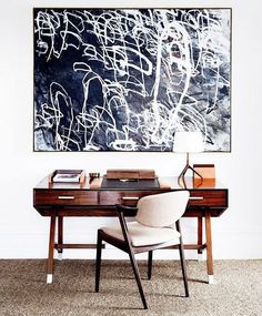 black and white oversized painting over desk / sfgirlbybay