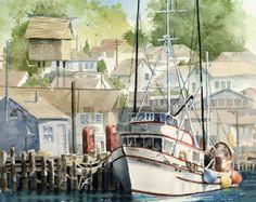 Harbor at Morro Bay  Art Print  Watercolor Painting  Signed