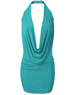 Casual Dresses - Luna Flower Women's Sexy Low Cut Fitted Plunge Halter Party at Women's Clothing store: Blue Dresses, Casual Dresses, Dress Outfits, Fashion Dresses, Dress Cuts, Jeans Style, Athletic Tank Tops, Party Dress, Sexy Women