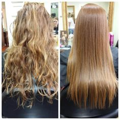 Brazilian blowout. Before and after. Hair by Enoé.