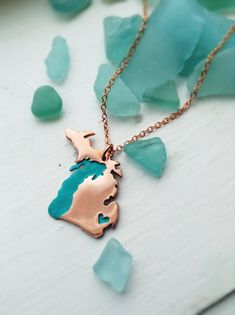 Copper Full Michigan Love Made to Order Personalize the Heart over Your Favorite City